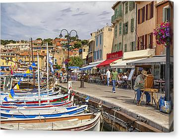Cassis Harborside  Canvas Print by Georgia Fowler