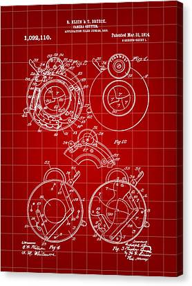 Camera Shutter Patent 1910 - Red Canvas Print by Stephen Younts