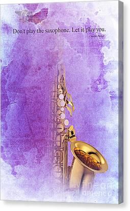 Charlie Parker Quote - Sax Canvas Print by Pablo Franchi