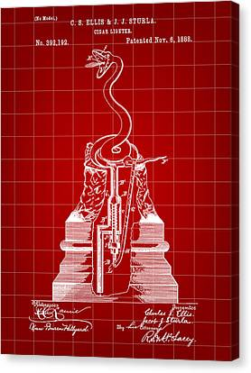 Cigar Lighter Patent 1888 - Red Canvas Print by Stephen Younts