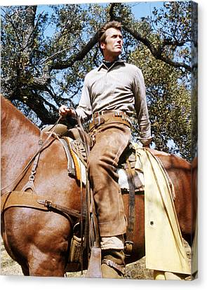 Clint Eastwood In Rawhide  Canvas Print by Silver Screen