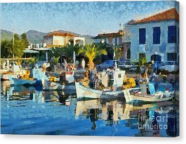 Colorful Port Canvas Print by George Atsametakis