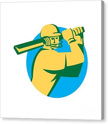 Cricket Player Batsman Batting Circle Retro Canvas Print by Aloysius Patrimonio