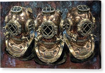 3 Deep-diving Helmets Canvas Print by Daniel Hagerman