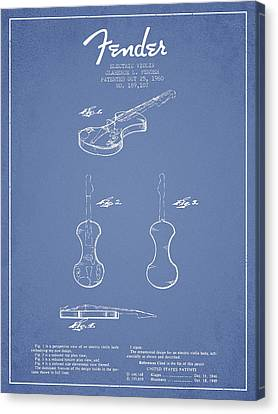 Electric Violin Patent Drawing From 1960 Canvas Print by Aged Pixel