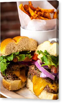 Gourmet Pub Hamburger Canvas Print by Teri Virbickis