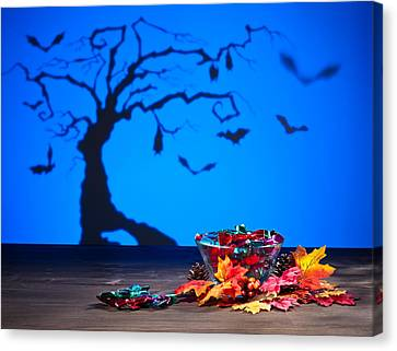Halloween Tree Bats And Sweets Canvas Print by Ulrich Schade