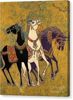 3 Horses Canvas Print by Laila Shawa