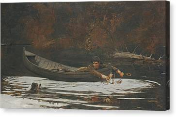 Hound And Hunter Canvas Print by Winslow Homer