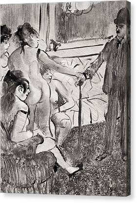 Illustration From La Maison Tellier By Guy De Maupassant Canvas Print by Edgar Degas