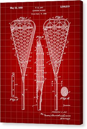 Lacrosse Stick Patent 1948 - Red Canvas Print by Stephen Younts