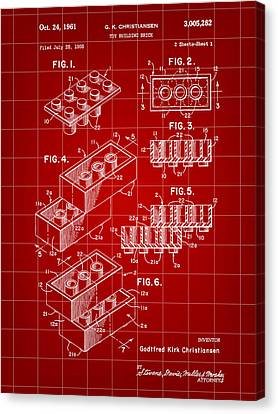 Lego Patent 1958 - Red Canvas Print by Stephen Younts
