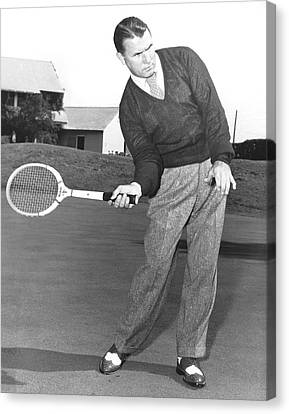 Man Posing With Sports Gear Canvas Print by Underwood Archives