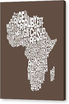 Map Of Africa Map Text Art Canvas Print by Michael Tompsett