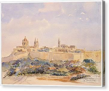 Mdina Skyline Canvas Print by Godwin Cassar