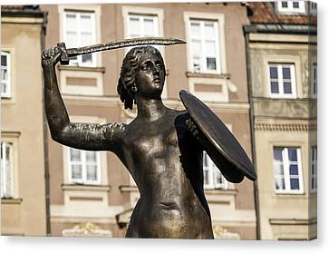 Mermaid Statue In Warsaw. Canvas Print by Fernando Barozza