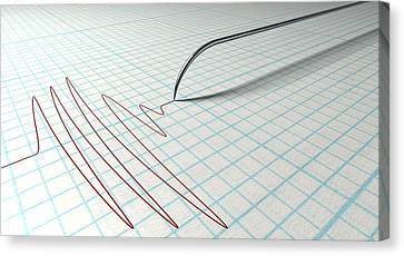 Polygraph Needle And Drawing Canvas Print by Allan Swart