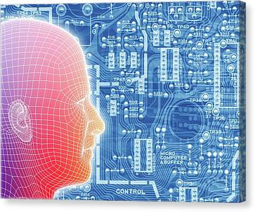Printed Circuit Board And Wireframe Head Canvas Print by Alfred Pasieka
