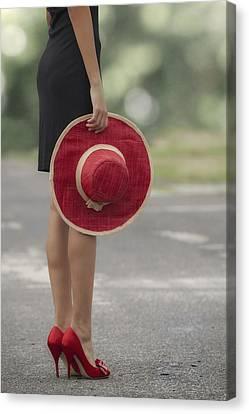 Red Sun Hat Canvas Print by Joana Kruse