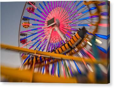 Santa Monica Pier Ferris Wheel And Roller Coaster At Dusk Canvas Print by Scott Campbell