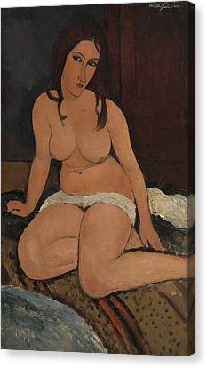 Seated Nude Canvas Print by Amedeo Modigliani