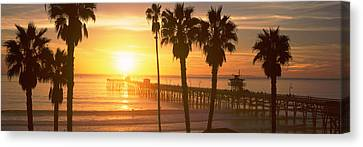 Silhouette Of A Pier, San Clemente Canvas Print by Panoramic Images
