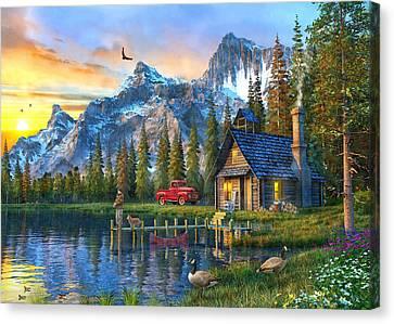 Sunset At Log Cabin Canvas Print by Dominic Davison
