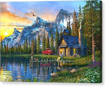 Sunset At Log Cabin Canvas Print by Dominic Davison