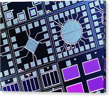 Surface Of Microchip Canvas Print by Alfred Pasieka