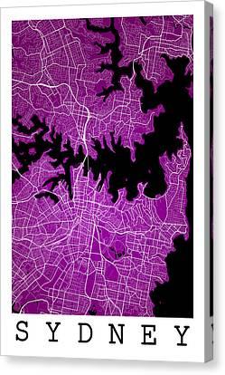 Sydney Street Map - Sydney Australia Road Map Art On Colored Bac Canvas Print by Jurq Studio