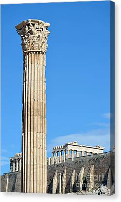 Temple Of Olympian Zeus And Acropolis In Athens Canvas Print by George Atsametakis