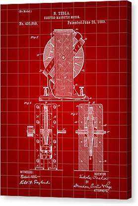 Tesla Electro Magnetic Motor Patent 1889 - Red Canvas Print by Stephen Younts