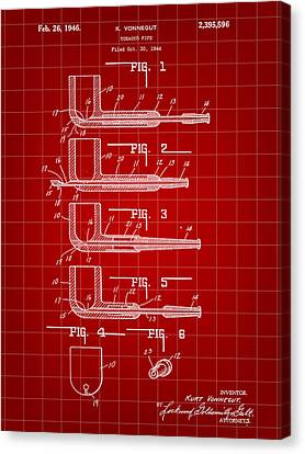 Tobacco Pipe Patent 1944 - Red Canvas Print by Stephen Younts