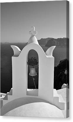 Traditional Belfry In Oia Canvas Print by George Atsametakis