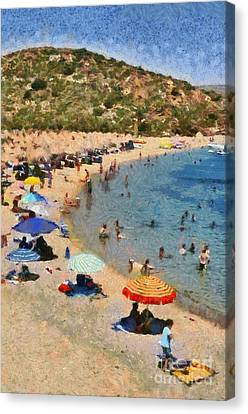 Painting Of Vai Beach Canvas Print by George Atsametakis