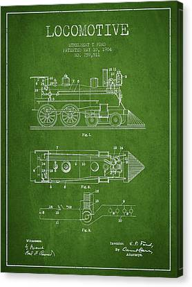 Vintage Locomotive Patent From 1904 Canvas Print by Aged Pixel