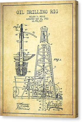 Vintage Oil Drilling Rig Patent From 1911 Canvas Print by Aged Pixel