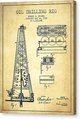Vintage Oil Drilling Rig Patent From 1916 Canvas Print by Aged Pixel