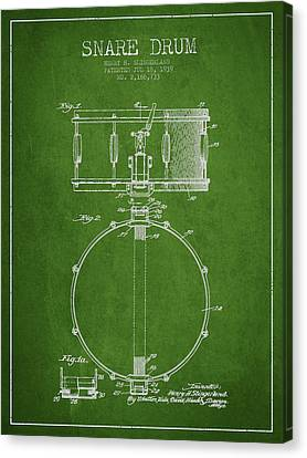 Snare Drum Patent Drawing From 1939 - Green Canvas Print by Aged Pixel