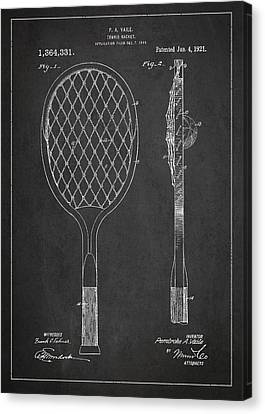 Vintage Tennnis Racket Patent Drawing From 1921 Canvas Print by Aged Pixel