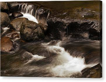 Water Flowing Canvas Print by Les Cunliffe