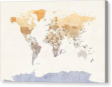 Watercolour Political Map Of The World Canvas Print by Michael Tompsett