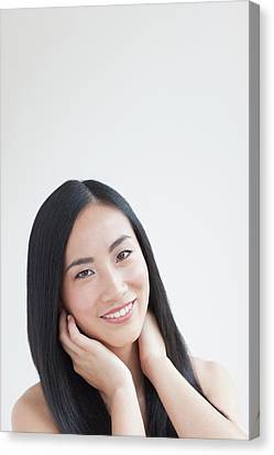 Woman Smiling Canvas Print by Ian Hooton