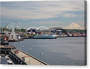 Wa, Seattle, The Seattle Great Wheel Canvas Print by Jamie and Judy Wild