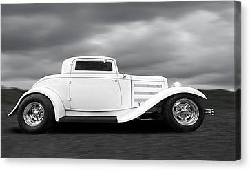 32 Ford Deuce Coupe In Black And White Canvas Print by Gill Billington
