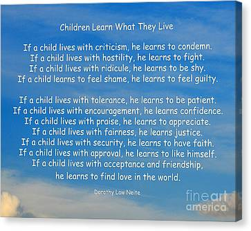 33- Children Learn What They Live Canvas Print by Joseph Keane