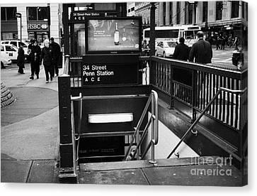 34th Street Entrance To Penn Station Subway New York City Canvas Print by Joe Fox