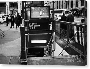34th Street Entrance To Penn Station Subway New York City Canvas Print by Joe Fox