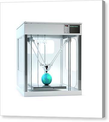 3d Printer Printing Globe Canvas Print by Andrzej Wojcicki