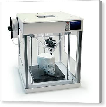 3d Printer Printing Skull Canvas Print by Andrzej Wojcicki